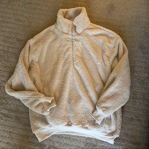 Quarter Zip oversized fleece jacket